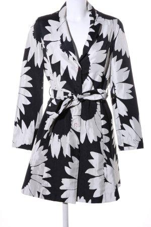 Desigual Übergangsmantel schwarz-weiß Blumenmuster Casual-Look