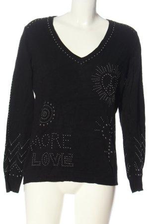 Desigual V-Ausschnitt-Pullover schwarz Motivdruck Casual-Look