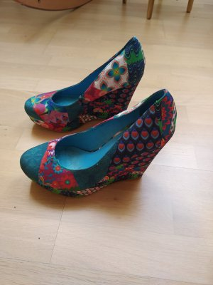 Desigual Wedge Pumps blue