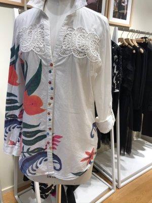 Desigual weiße Bluse mit Stickereien, bunten Knöpfen, Gr. L