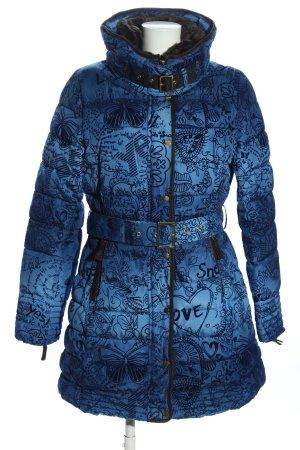 Desigual Winterjacke blau-schwarz Allover-Druck Casual-Look