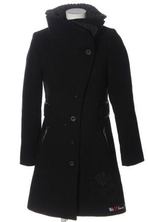 Desigual Płaszcz zimowy czarny Wydrukowane logo Elegancki