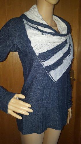 Desigual Pull oversize bleu acier coton