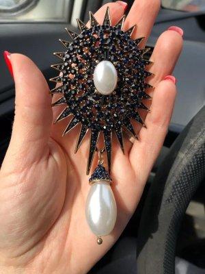Desinger große Brosche mit Perle hängend victorian revivial