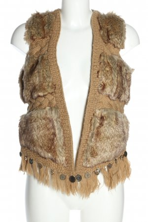 desiqual Knitted Vest nude-brown cable stitch casual look