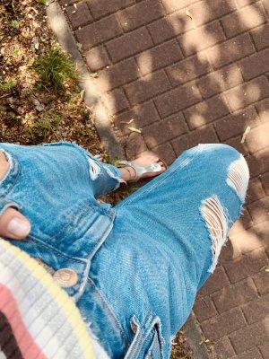 H&M Boyfriend Trousers steel blue-blue