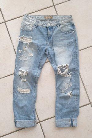 Zara Basic Workowate jeansy Wielokolorowy