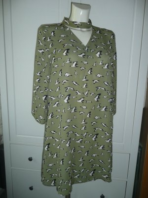 Details zu  Studio Italy Tunika Kleid Dress mit Stehkragen Vogelprint in Khaki Grün Gr M 38-40