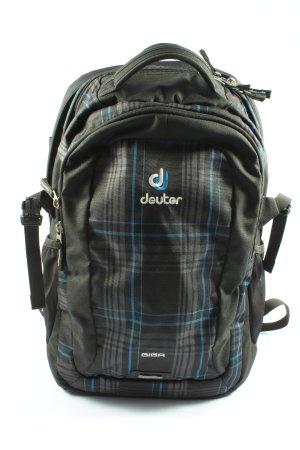 Deuter Tagesrucksack schwarz-blau Karomuster Casual-Look
