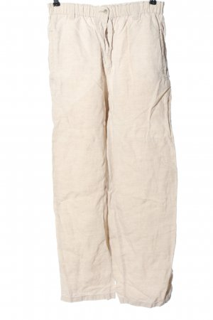 Deyk Pantalone di lino bianco sporco puntinato stile casual