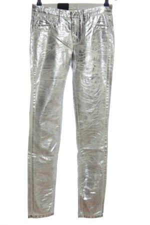 Deyk Jeans a gamba dritta argento stile stravagante