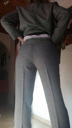 di Bari Pantalon de costume blanc-noir