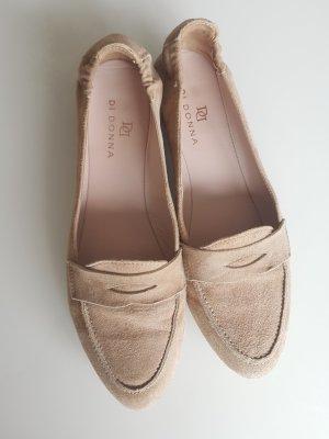 DI DONNA Slipper, Loafer, spitze Ballerina, Halbschuhe, beige, Leder, Gr.38