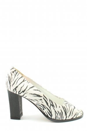 di Sandro Peep Toe Pumps white-black animal pattern elegant