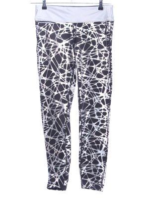 Diadora Legging zwart-zilver abstract patroon atletische stijl