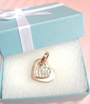 Diamant Doppel Herz Anhänger 9 karat