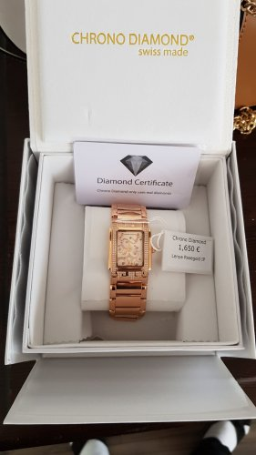 Chrono Diamond Watch With Metal Strap rose-gold-coloured