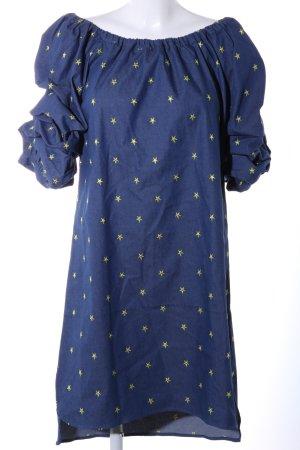 Diamonds & Pearls schulterfreies Kleid blau-goldfarben Allover-Druck Casual-Look