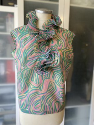 Diane von Furstenberg Blouse sans manche rose-gris vert