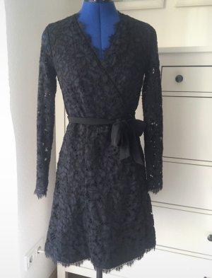 Diane von Furstenberg Robe portefeuille bleu foncé-noir