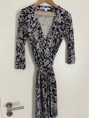 Diane von Furstenberg Vestido cruzado blanco puro-azul oscuro Seda