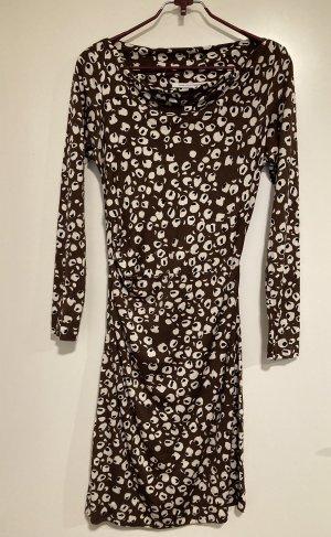Diane von Fürstenberg Robe en jersey crème-brun noir