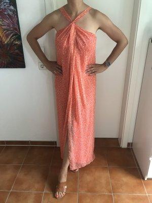 Diane von Furstenberg Robe longue orange-blanc