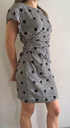 * DIANE VON FÜRSTENBERG * Mini Kleid asymetisch SEIDE schwarz weiß Gr 32 - 34 XS XXS