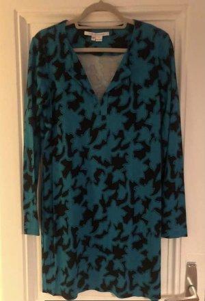 Diane von Furstenberg Tunic Dress black-cadet blue silk