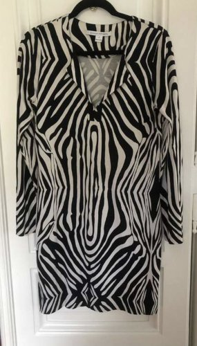 Diane von Furstenberg Jersey Dress white-black silk