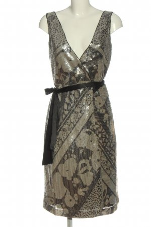 Diane von Furstenberg Abendkleid braun-wollweiß abstraktes Muster Elegant