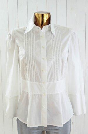 DIANE VON FURSTENBERG Damen Bluse Weiß Langarm Baumwolle Biesen Tailliert Gr.8/36