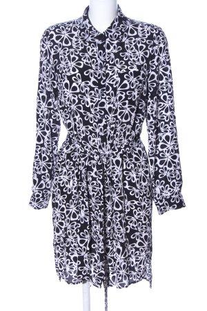 Diane von Furstenberg Hemdblusenkleid schwarz-weiß Allover-Druck Casual-Look