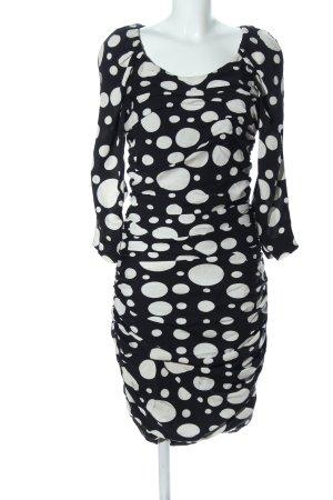 Diane von Furstenberg Langarmkleid schwarz-weiß Punktemuster Casual-Look
