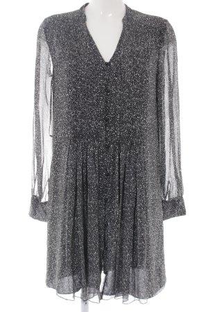Diane von Furstenberg Langarmkleid schwarz-weiß Allover-Druck Casual-Look