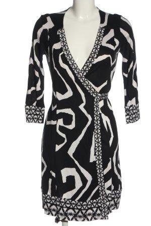 Diane von Furstenberg Robe à manches longues noir-blanc imprimé allover