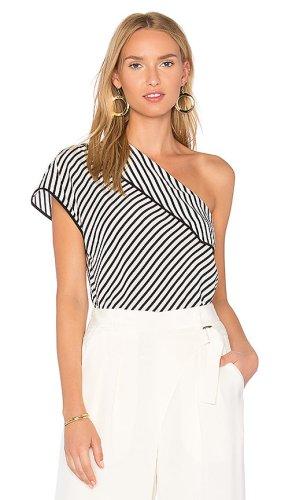 Diane von Furstenberg Camisa de un solo hombro blanco-azul