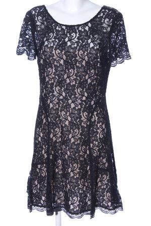 Diane von Furstenberg Spitzenkleid schwarz Blumenmuster Elegant
