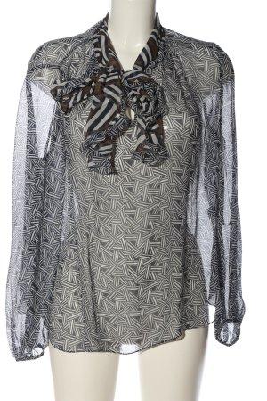 Diane von Furstenberg Transparenz-Bluse schwarz-weiß grafisches Muster Elegant