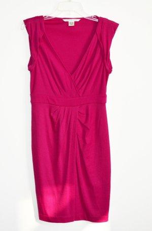 Diane von Furstenberg WHITLEY Kleid Wrap Optik Fuchsia Wolle S