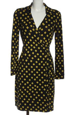 Diane von Furstenberg Vestido cruzado negro-amarillo pálido look casual