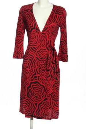 Diane von Furstenberg Wickelkleid rot-schwarz abstraktes Muster Elegant