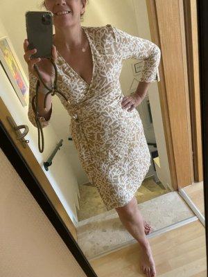 Diane von Furstenberg Abito avvolgente beige-bianco Seta