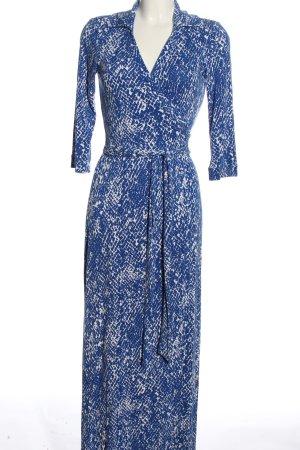 Diane von Furstenberg Abito avvolgente blu-bianco motivo astratto stile casual