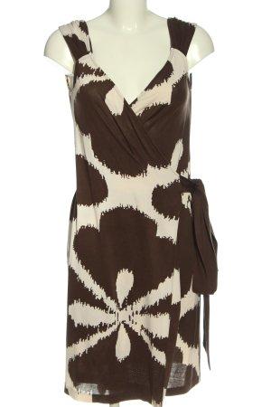 Diane von Furstenberg Robe portefeuille brun-blanc cassé motif abstrait