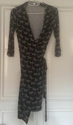 Diane von Furstenberg Robe portefeuille bleu foncé-gris clair soie
