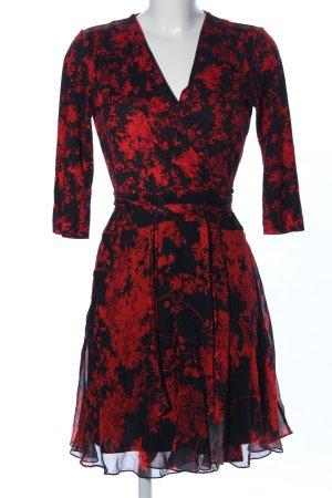 Diane von Furstenberg Wikkeljurk zwart-rood bloemenprint casual uitstraling