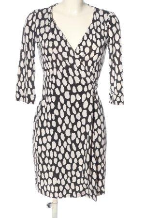Diane von Furstenberg Robe portefeuille noir-blanc imprimé allover