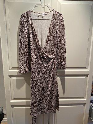 Diane von Furstenberg Robe portefeuille brun-crème