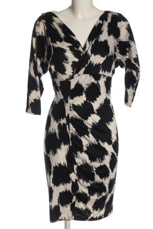 Diane von Furstenberg Vestido de tela de jersey negro-blanco puro look casual